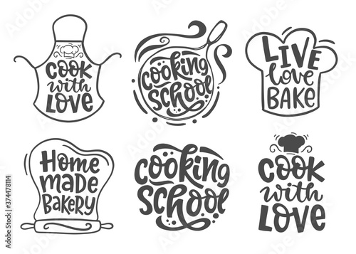 Fototapeta Home made bakery, culinary logotype icons set obraz