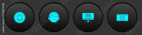 Obraz Set Button chat notification, Man with headset, Monitor FAQ information and Setting icon. Vector. - fototapety do salonu