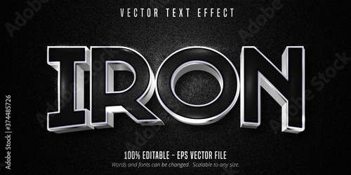 Fotografiet Iron text, metallic silver style editable text effect