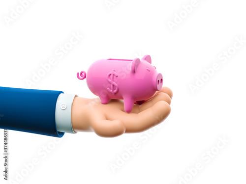 3d illustration. Cartoon businessman character hand holds piggy banks. The concept of saving money