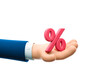 canvas print picture - 3d illustration. Cartoon businessman character hand holding a percent sign.