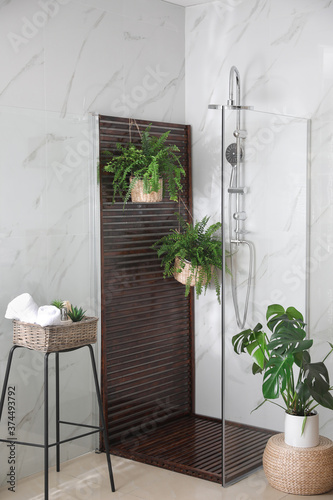 Foto Bathroom interior with shower stall and houseplants