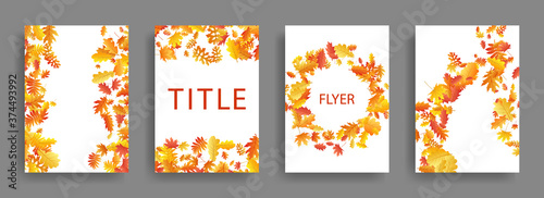 Fotomural Dry autumn leaves flying card backgrounds or covers vector set.