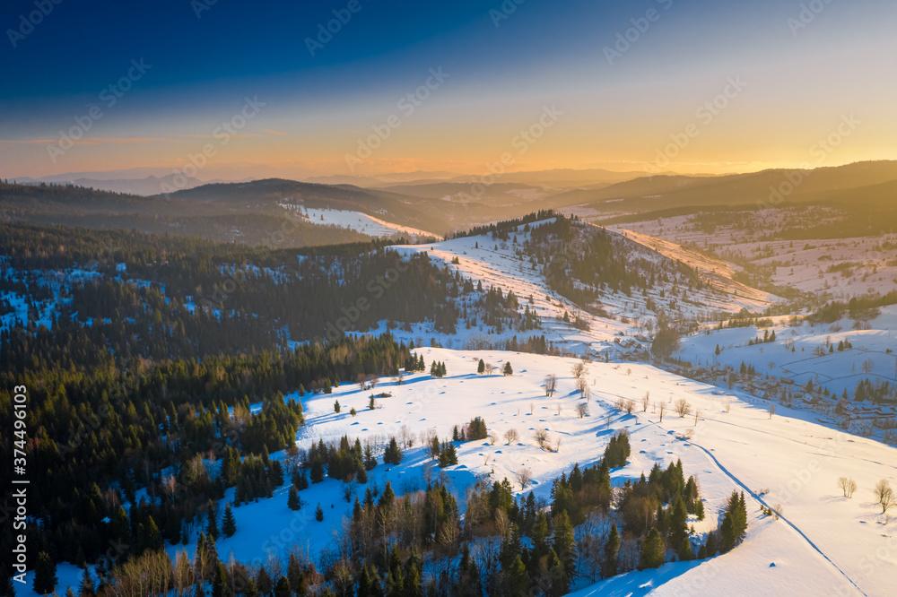 Lapszanka pass and Tatra mountains at sunrise in winter
