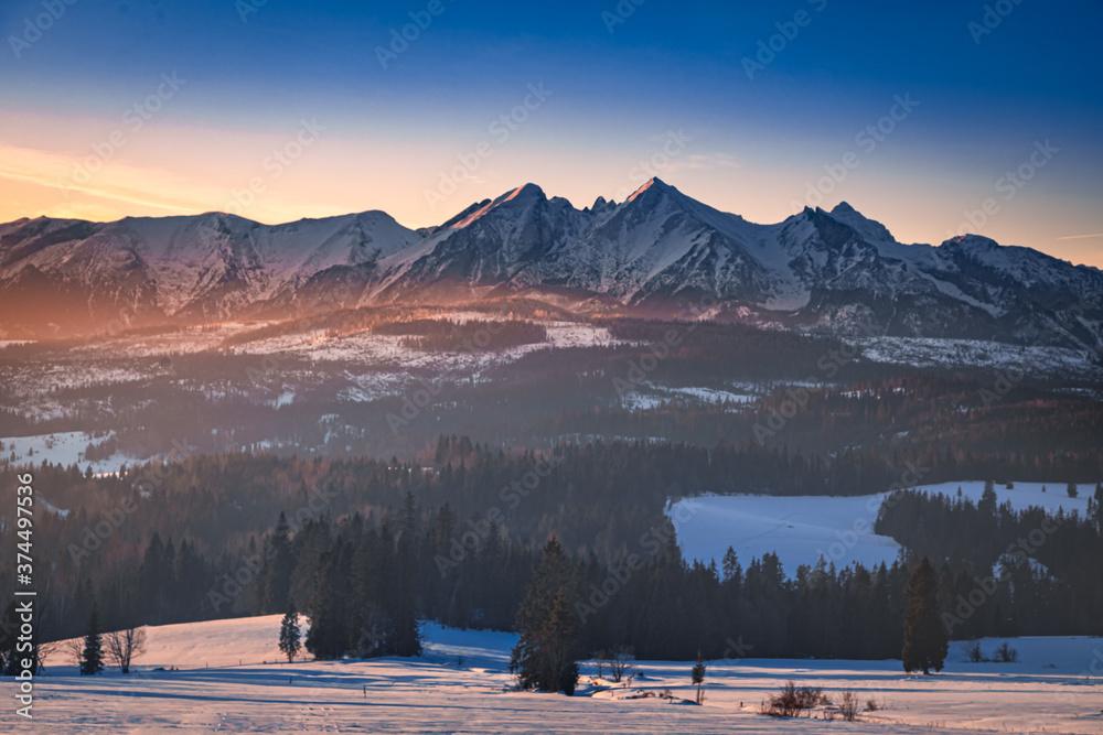 Wonderful Lapszanka Pass in Tatra mountains at sunrise in winter