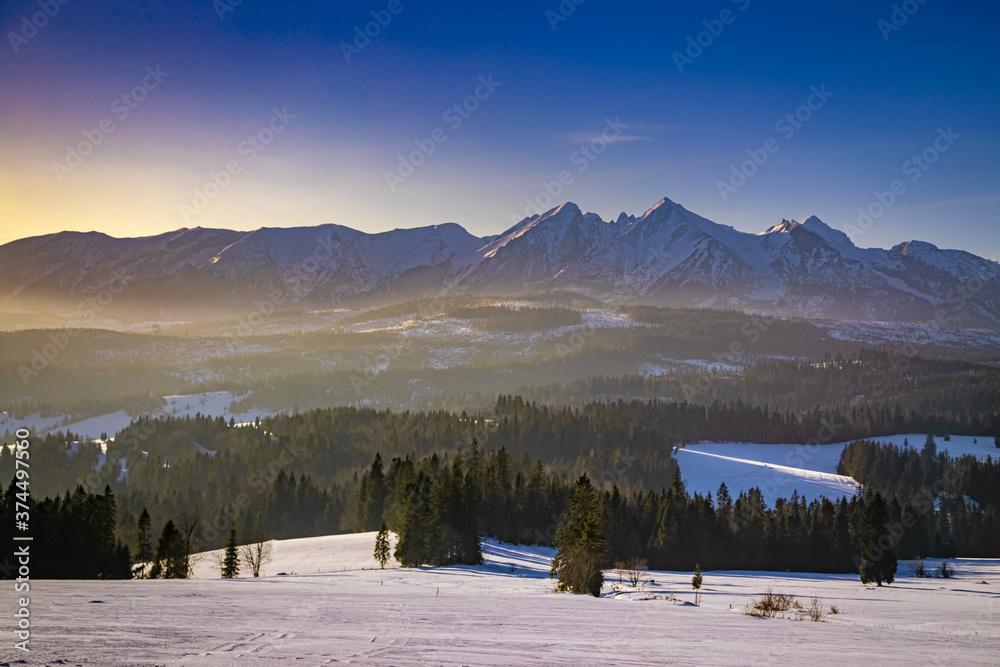 Wonderful Tatra mountains at sunrise in Lapszanka pass