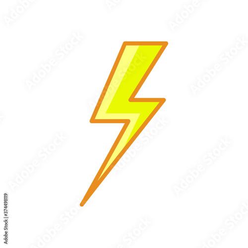 Fototapeta lightning bolt. Thunderbolt Line style yellow color flat icon obraz na płótnie