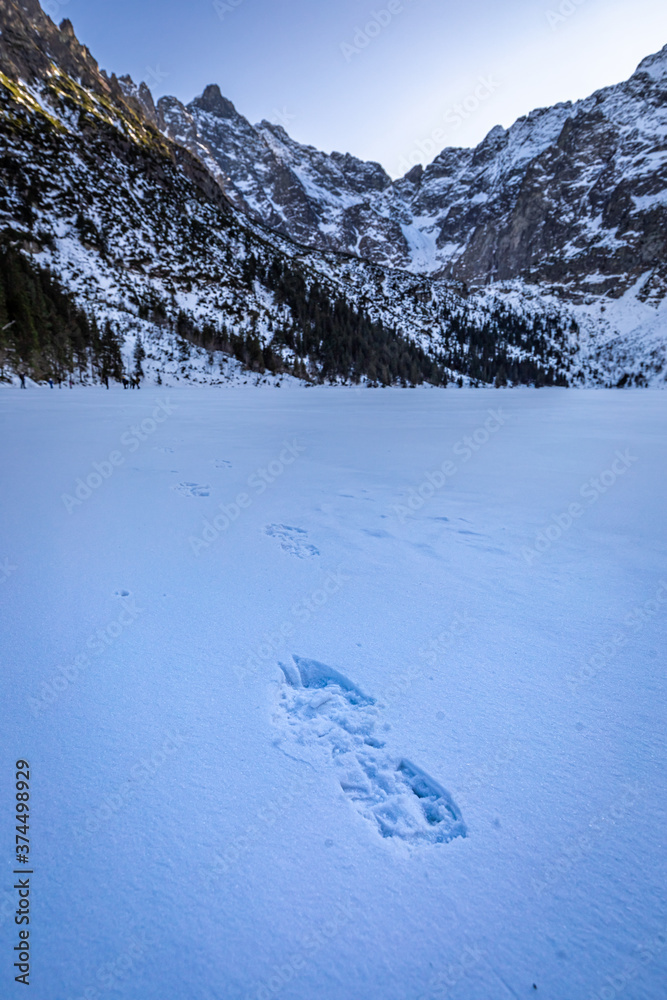 Snowy Morskie Oko lake and in Poland