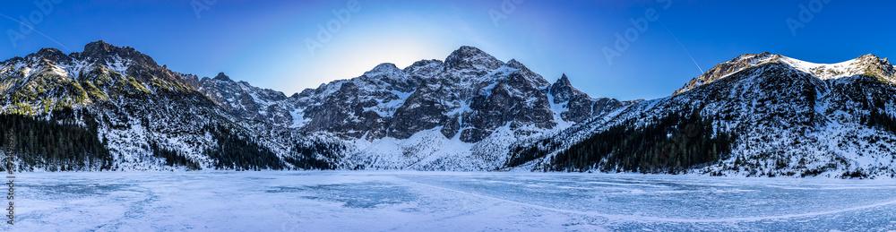 Panorama of Morskie Oko mountain lake in winter, Tatra mountains