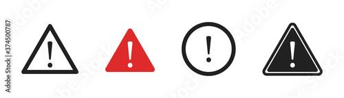 Fototapeta Warning danger and caution sign set