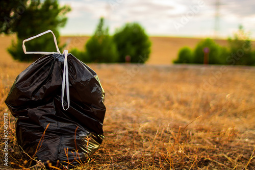 Garbage bags in the clean forest with a sunset in the background Fototapet