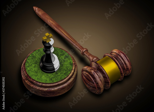 The judge's hammer and the black and white chess piece of the king Canvas Print