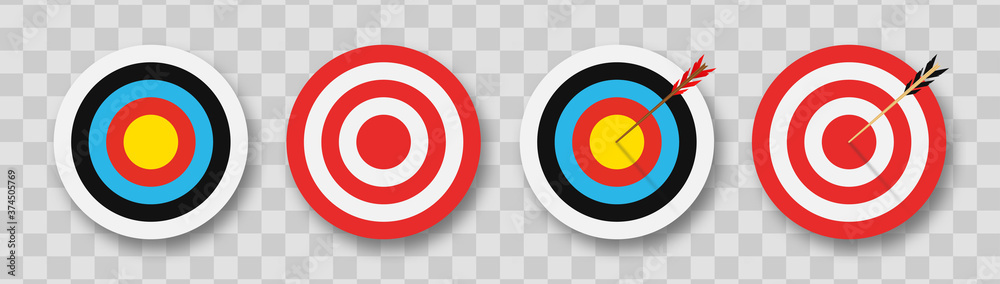 Fototapeta Archery target with arrows. Set of targets at transparent background with shadow. Сoncept of archery or reaching the goal in business. Vector illustration.