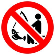 No Fishing Forbidden Sign, Modern Round Sticker, Vector Illustration