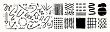 Various Sketchy Doodle Arrows, Direction Pointers Shapes And Objects. Freehand Black Lines, Curves, Dots, Spiral. Brush Stroke Style. Grunge Texture. Hand Drawn Abstract Vector Set