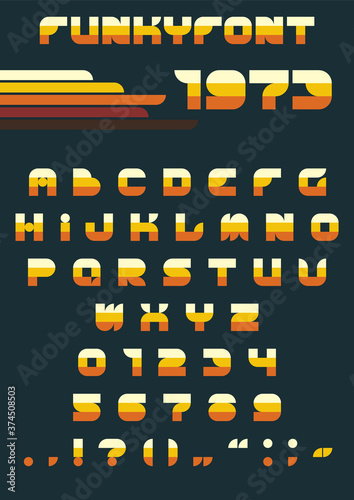 1970s Funky Font, Vintage Colors and Shapes Wallpaper Mural