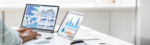 Fototapeta Analyst Employee Working With Spreadsheet Report obraz