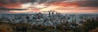 canvas print picture - Montreal sunrise city skyline panorama