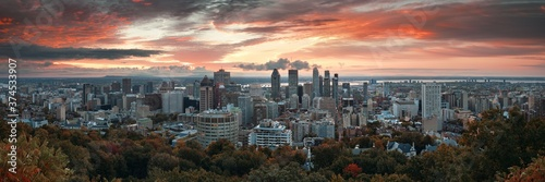 Photo Montreal sunrise city skyline panorama