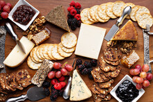 Cheese And Snack Board With Fruit And Crackers, Cheese Variety