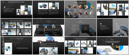 Vászonkép Presentation design vector templates, multipurpose template for presentation slide, flyer, brochure cover design with abstract circle banners
