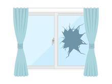 割れた窓ガラスのイラスト