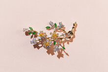 Brooch With Zircons And Crysta...