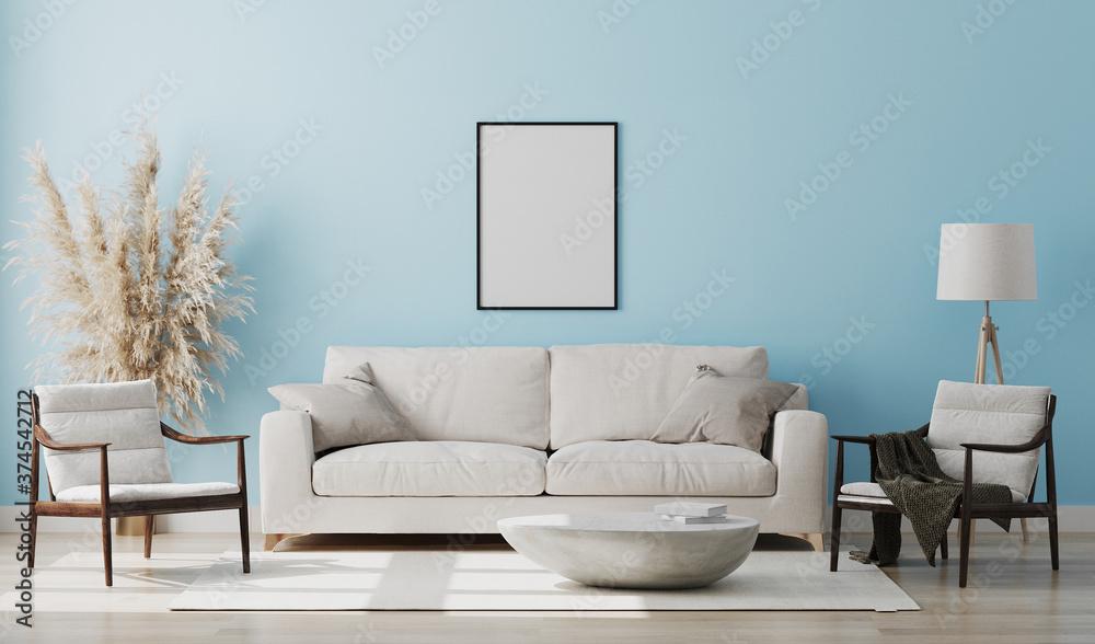 Fototapeta Blank picture frame mock up in light blue room interior , 3d rendering