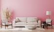 Pink room interior, living room interior mockup, empty pink wall, 3d rendering