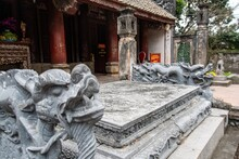 Chinese Lion Statue In Temple