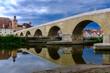 canvas print picture - Steinerne Brücke Regensburg, mit Reflektion