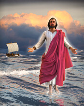 Jesus Christ Walking On Water With The Disciples In A Fishing Boat