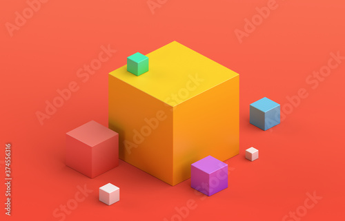 Obraz na plátně Abstract 3d render, geometric composition, colorful background design with cubes