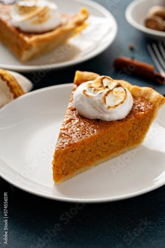 Fotografie, Obraz Sweet potato pie slice with toasted marshmallow topping