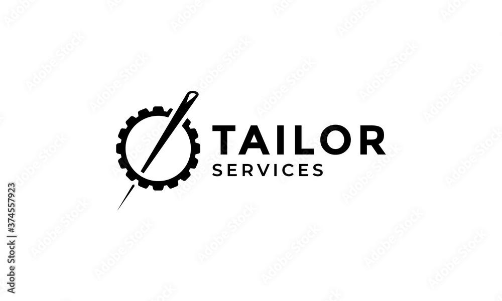 Fototapeta needle or pin tailor and gear  logo design