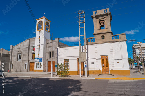 Photo Church in small touristic town Puerto Madryn near peninsula Valdes, Patagonia, A