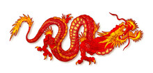 Red Asian Dragon On White Background