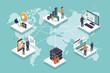 International business team connecting online