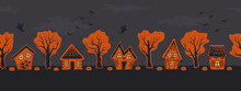 Halloween Houses. Spooky Village. Seamless Border. Orange Silhouettes Of Houses And Trees On A Black Gray Background. There Are Also Bats, Pumpkins And Ghost In The Picture. Vector Illustration