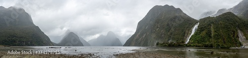 Panorama of Milford Sound during bad rainy weather, South Island/New Zealand Canvas Print