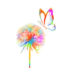 Panel Szklany Do sypialni Rainbow Dandelion with butterfly. Vector illustration.