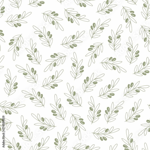 Fototapety, obrazy: Vector seamless pattern with olive branches on a white background. Decorative background for wrapping paper, wallpaper design