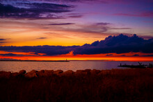 Sunset At Lake Erie With A Bea...