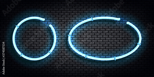 Vector set of realistic isolated neon sign of blue circle and oval frame for template and layout on the wall background.
