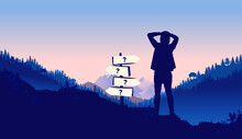 Youth Life Choices - Young Male Standing In Front Of Directional Sign Wondering About Life Paths. Choose, Pick A Path And  The Way Forward Concept. Vector Illustration.