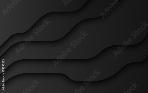Canvastavla Wavy layers of black paper background vector