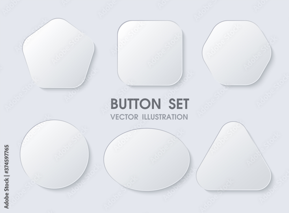 Fototapeta 3D geometric buttons with realistic curves and shadows like white paper.