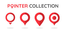 Location Pin Collection Red Pointer Icon For Pin On The Map To Show The Location.