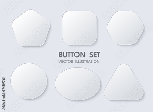 Photo 3D geometric buttons with realistic curves and shadows like white paper