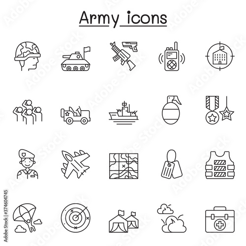 Leinwand Poster Set of Army Related Vector Line Icons